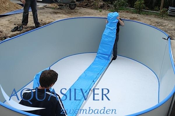 Ovaal zwembad 737 x 360 x 150 set compleet for Zwembad rechthoekig met pomp