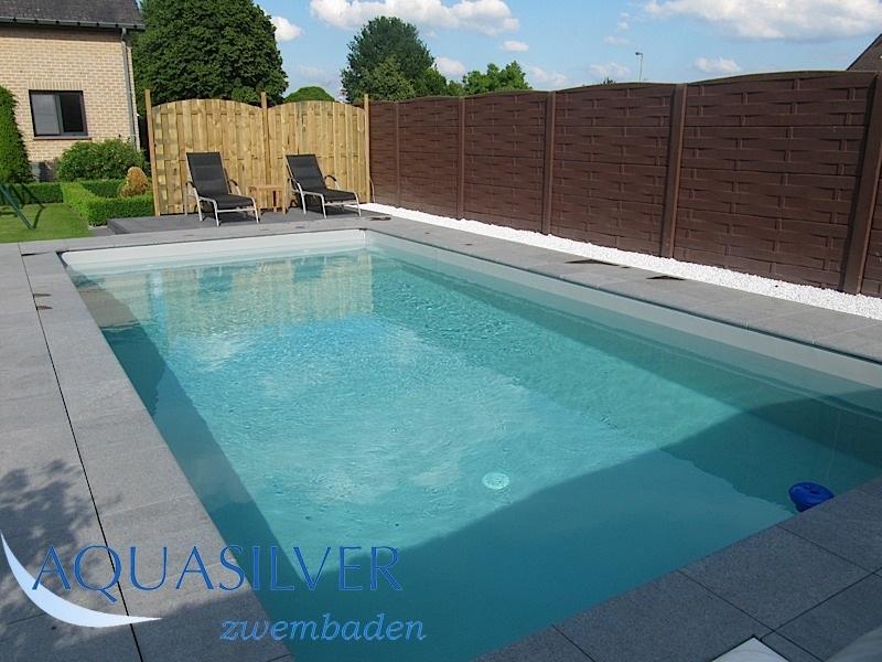 Zwembad randstenen boordstenen zwembaden - Zwembad betegeld grijs ...
