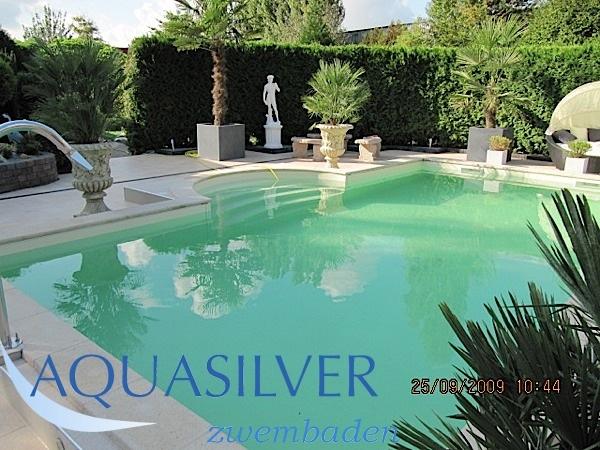 Delux rechthoek zwembad met romeinse inlooptrap diep