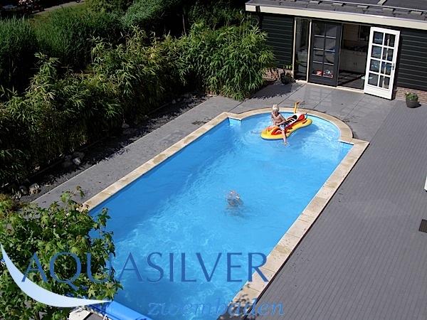 Delux rechthoek zwembad met romeinse inlooptrap 700 x350 x for Inbouw zwembad compleet