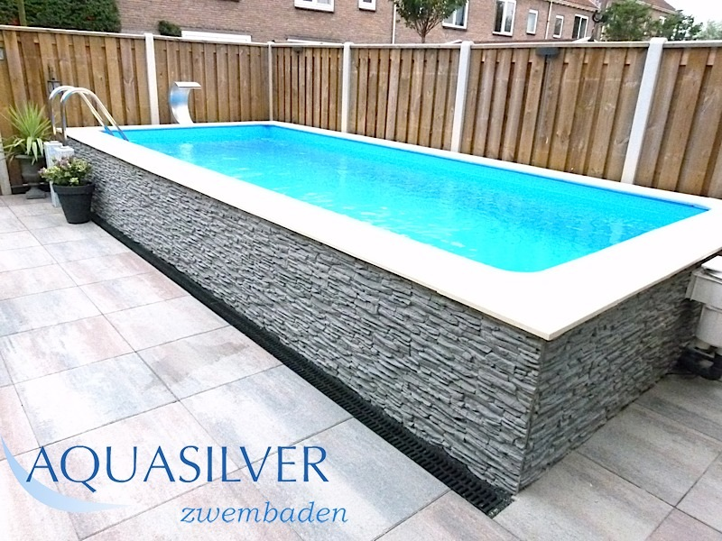 Zwembad rechthoek met rvs trap - Samengestelde pool weergaven ...